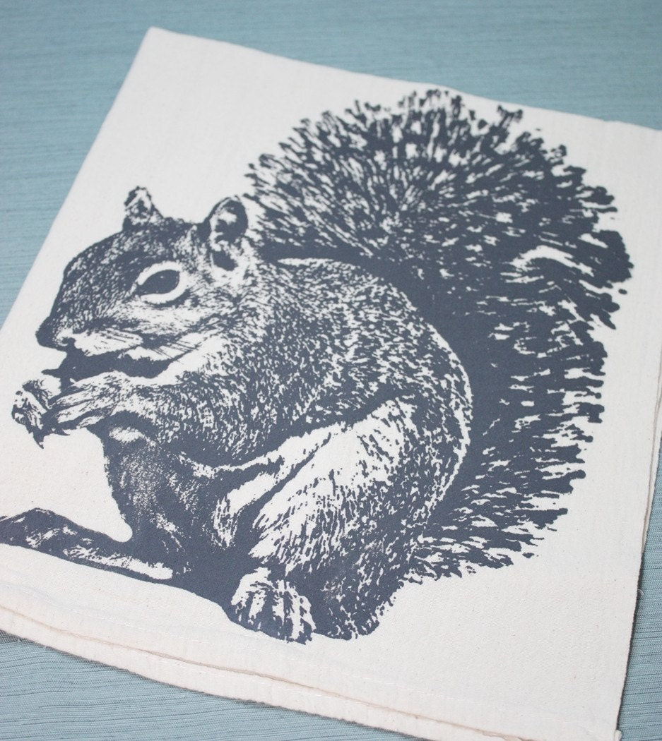 Super Squirrel in Gray - Hand Printed Flour Sack Tea Towel (Unbleached Cotton)