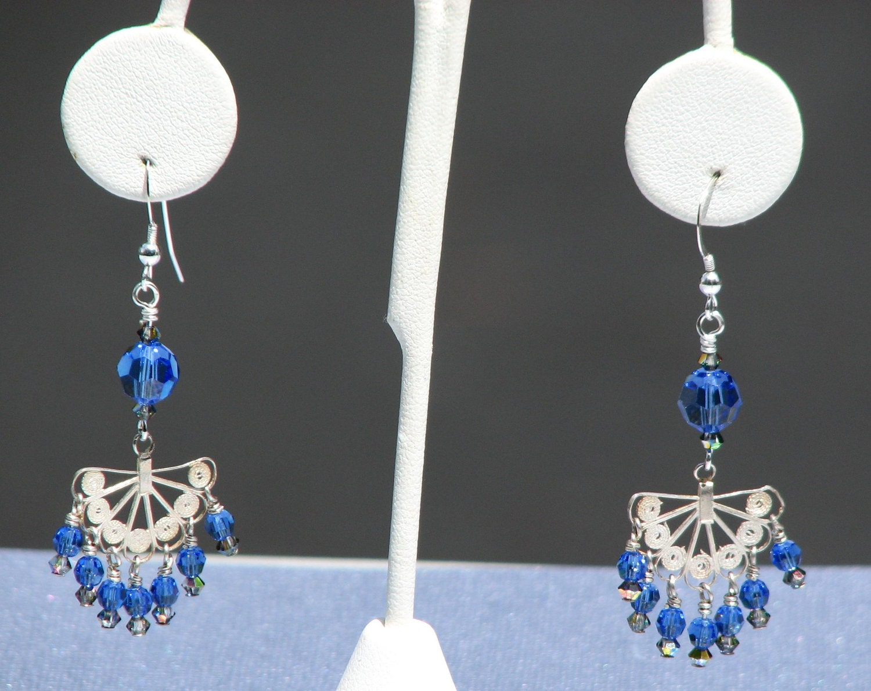 Blue Silver Fan Earrings