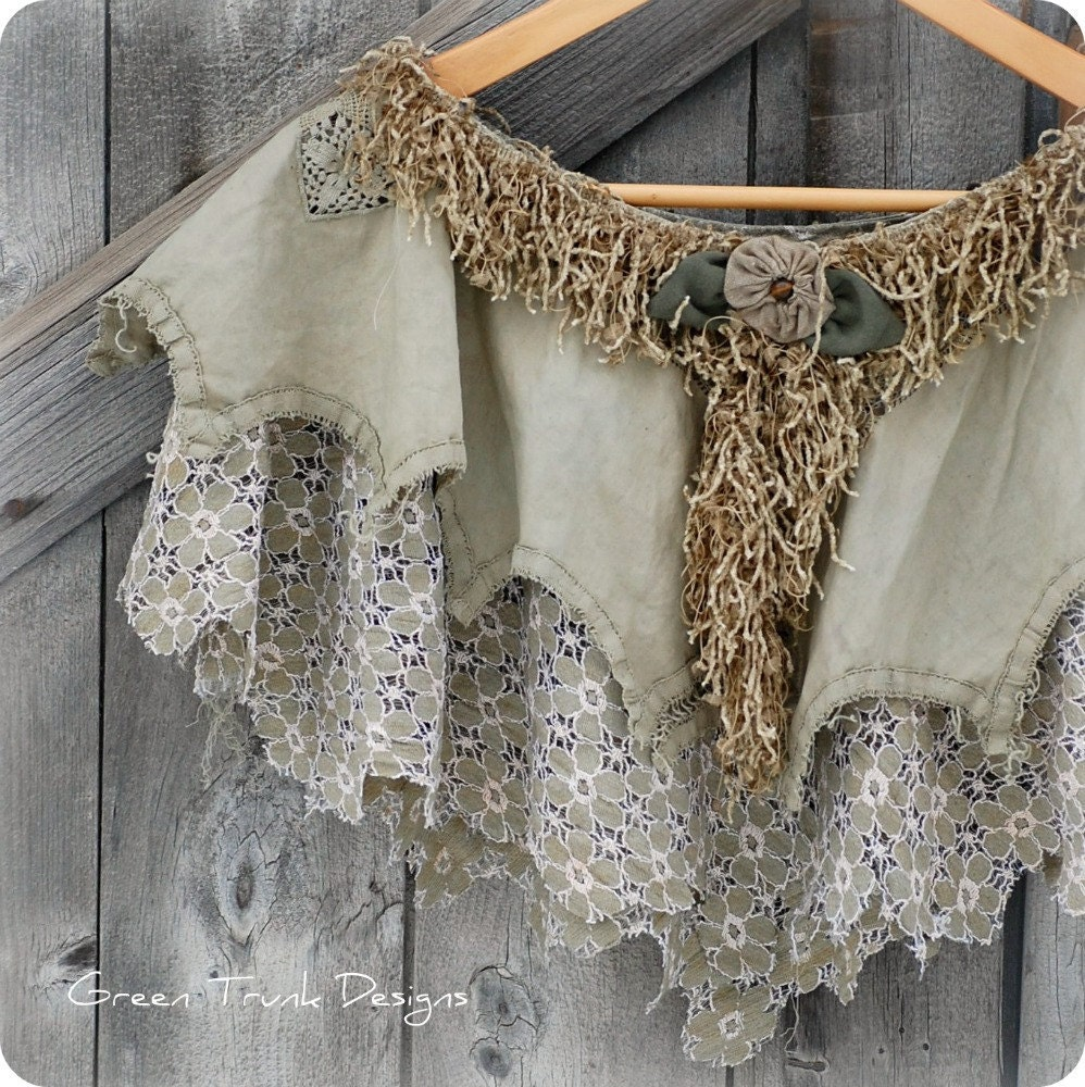 Mori Girl Tattered Moss Capelet Woodland Faerie Poncho - GreenTrunkDesigns