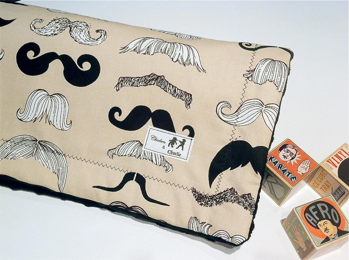 Lil Man- Mustache Blanket