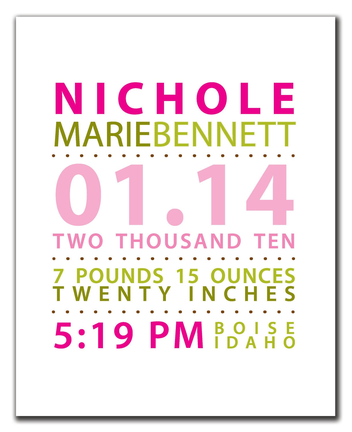 Modern Birth Announcement Nursery Wall Art