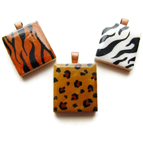 Animal Print Necklace Hand Painted Scrabble Tile in Zebra Leopard or Tiger-Wild Side - heversonart