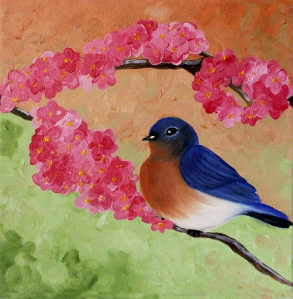 "Eastern BlueBird 1 - 12 x 12"" original oil painting - behindblueeyesart1"
