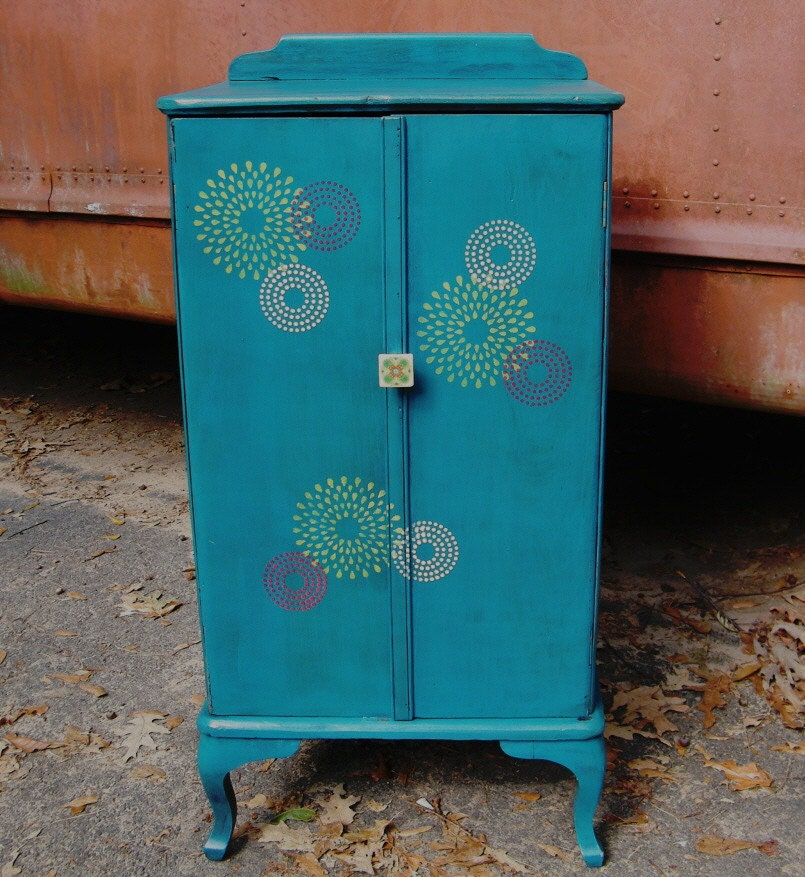 Upcycled Vintage Furniture Cabinet Cupboard Cabriolet Legs Storage for Scrap Booking, Art and Ephemera