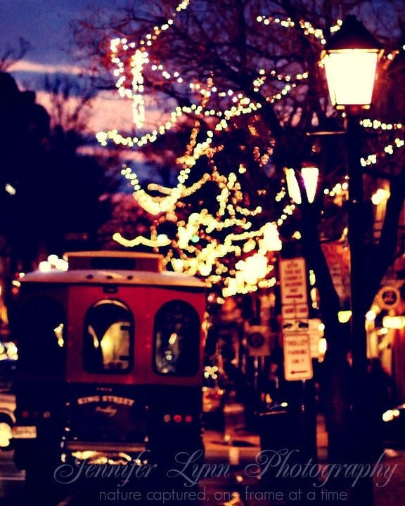 Night On King Street n.2 / 16x20 Fine Art Photograph / Alexandria VA King Street / lights trolley trees / purple pink red black yellow - JenniferLynnPhotos