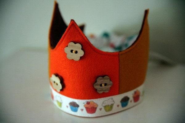 Wool Felt Crown - Cupcakes and Flowers