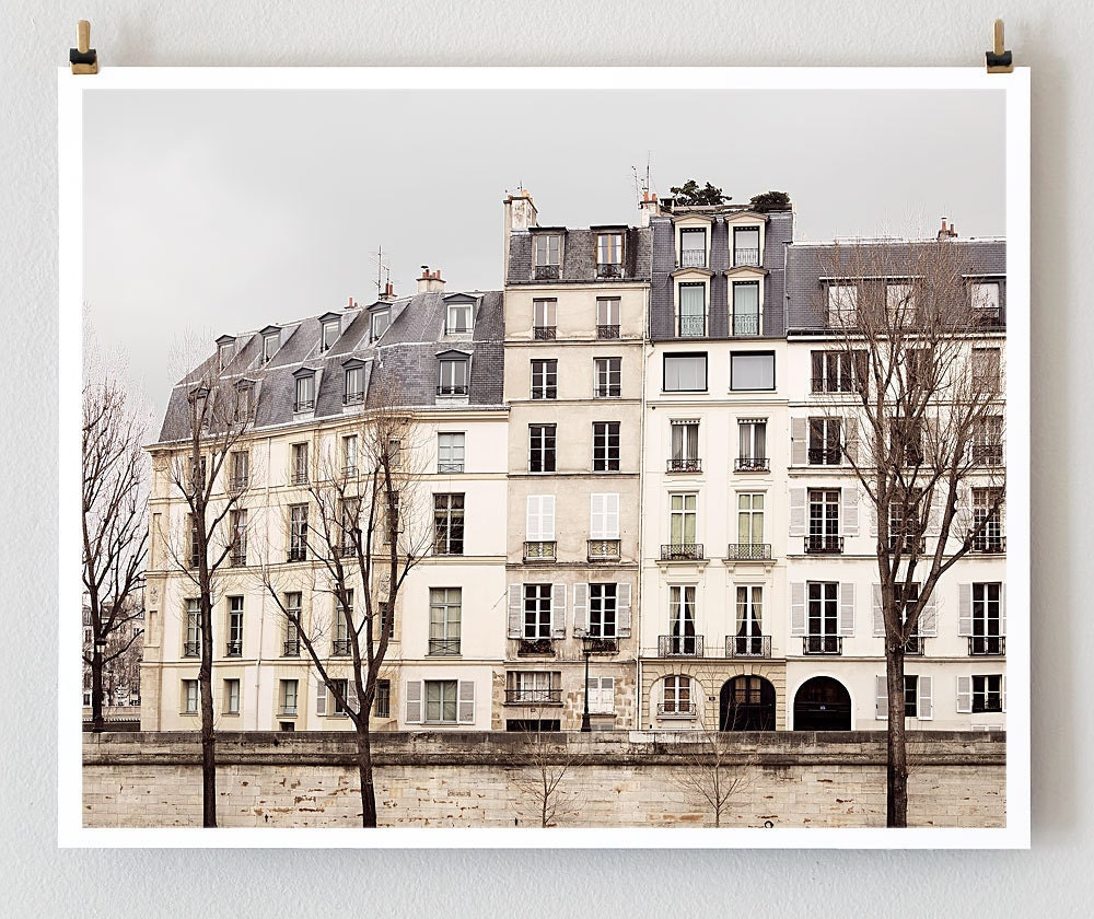 Paris Photography, Quai d'Orleans - 8x10 French Wall Art Prints, Gray Neutral