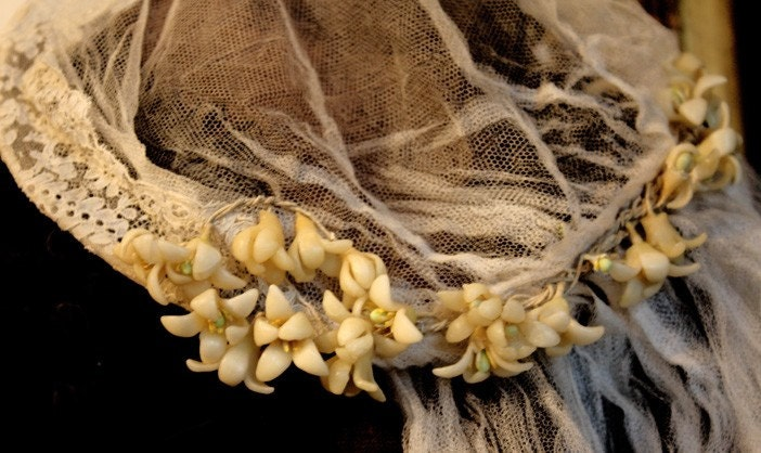 1880s French Wax Flowers Wedding Veil Amazing