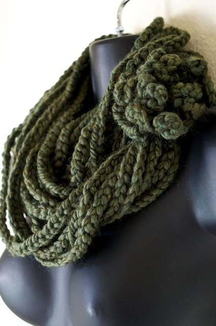 Moss Green Infiniti Lotus Lupe Double Wrap Scarf