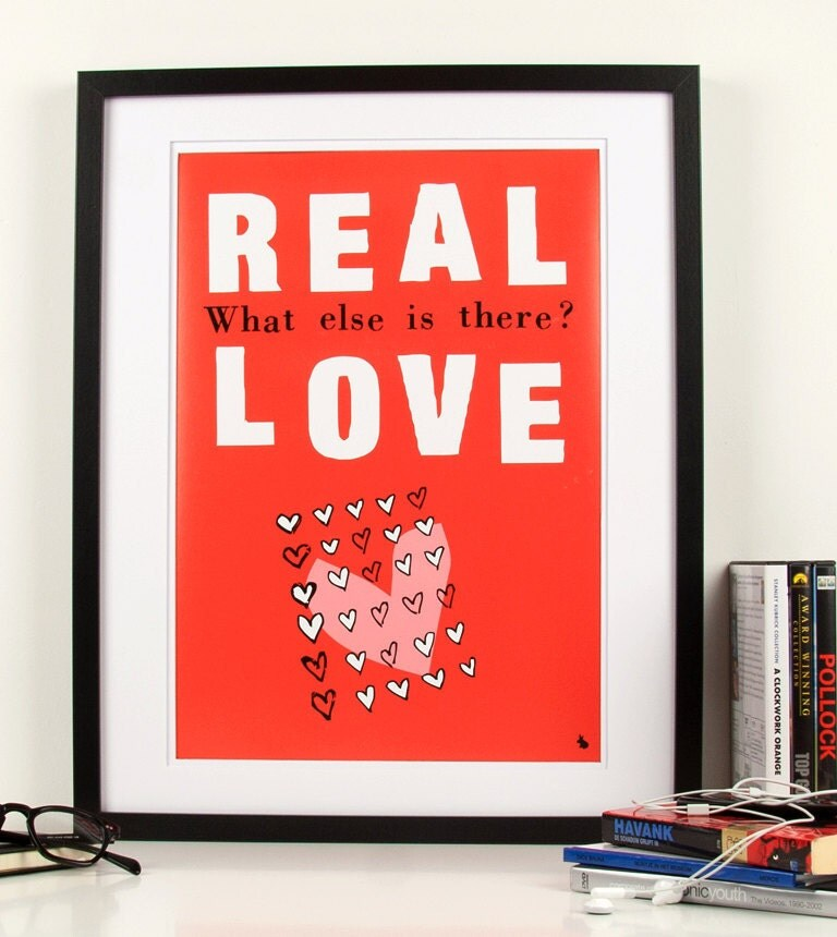 Pop art poster print red typography real love art print quote with hearts - Real love - A3