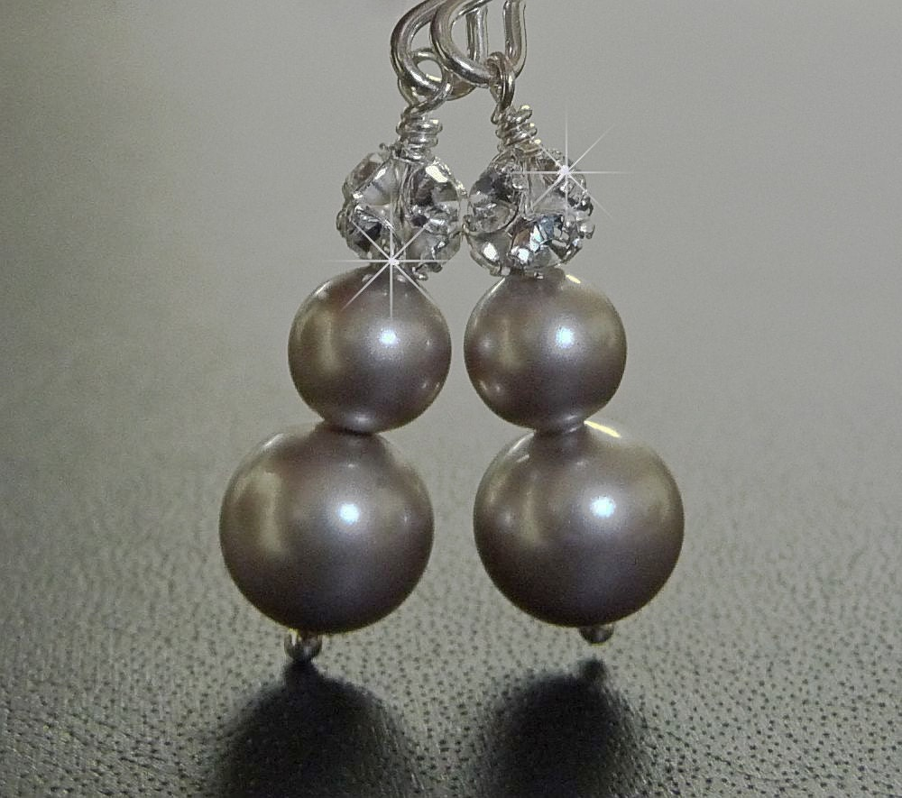 Grey Pearl Earrings on Grey Pearl Earrings  Rhinestone Earrings  Silver Wedding Jewelry