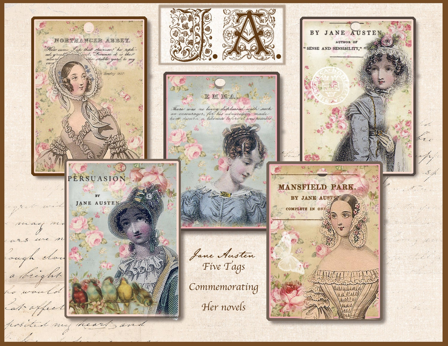 Jane Austen Tags Regency Jane Austen Gift Tags