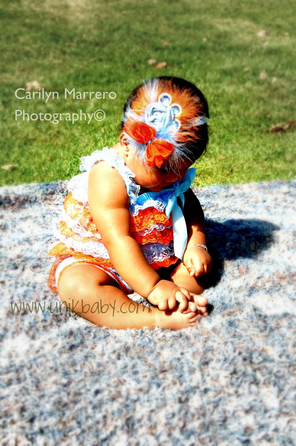 Vintage Inspired Orange & Blue Petti Lace Romper with Shoulder Straps  Ready to SHIP - Unikbaby