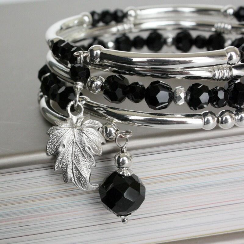 Black Bracelet, Black Crystal Memory Wire Bracelet with Ivy Leaf Charm, Silver Bangle Bracelet.