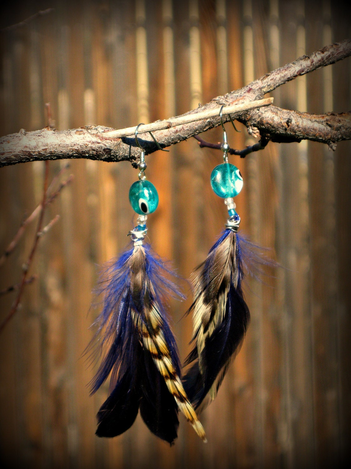 Macaw// Customizable, Handmade Blue and Tan Striped Feather Earrings with Blue Glass Bead and Wire Wrapping