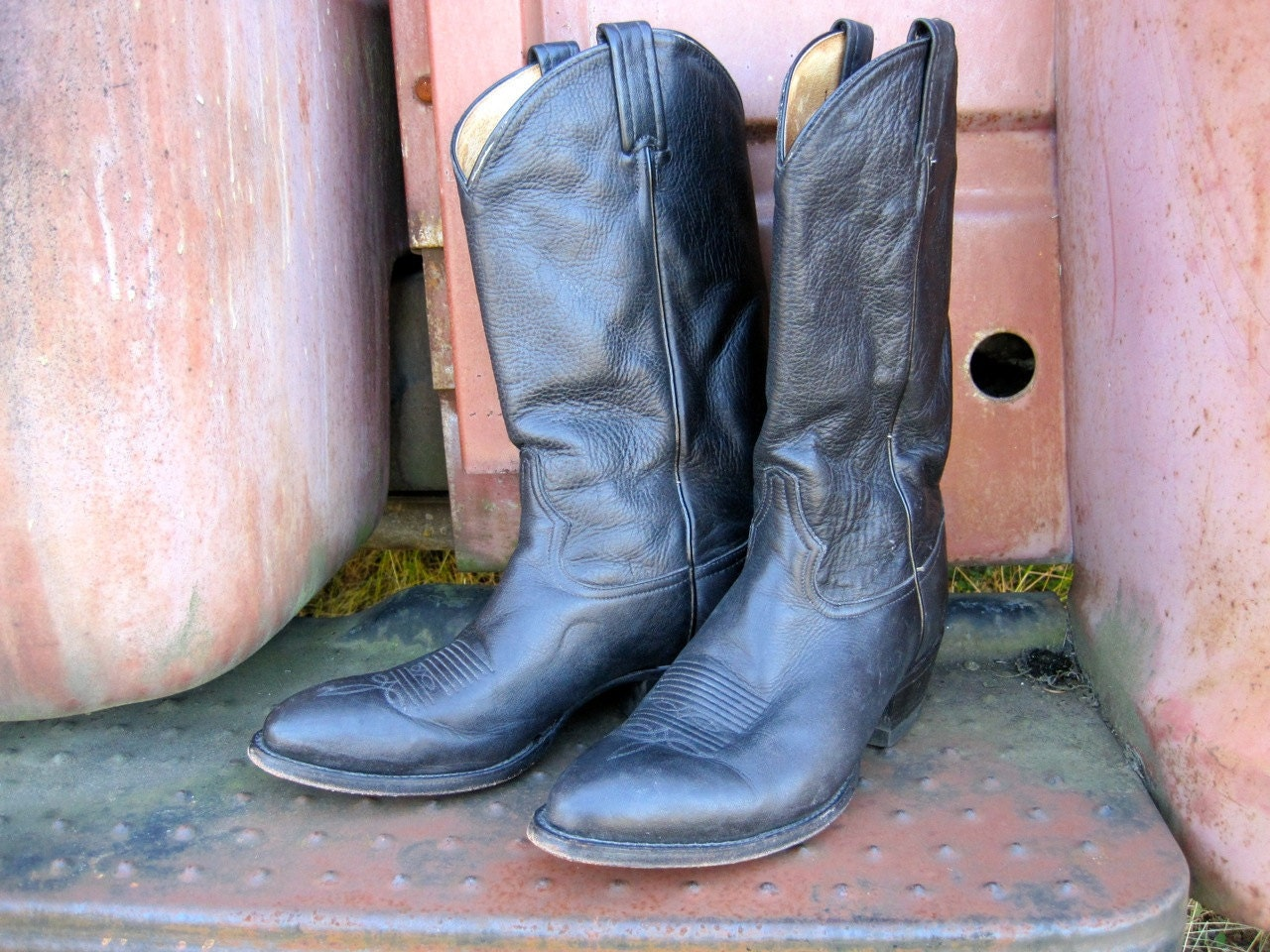 "Tony Lama western 13"" black Ol' Buck black leather cowboy boot, style 6156"