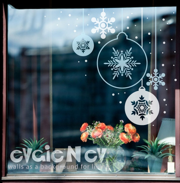 Holiday Decor Set - Christmas Ornaments Set  - Winter Vinyl Decal Sticker - HDCO010