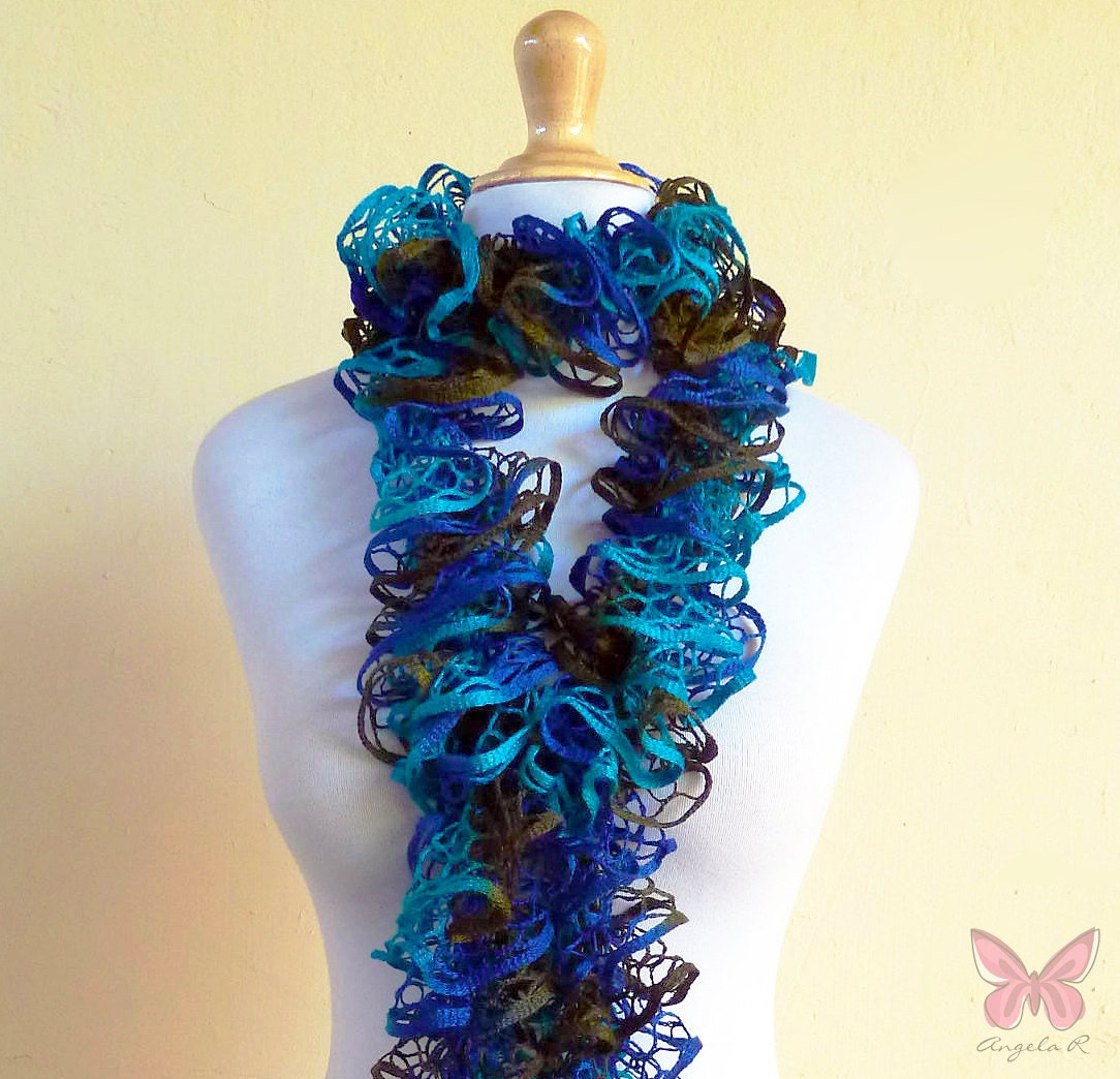 Knitting Pattern Ruffle Scarf : BIG SALE Knit Scarf MARINA Ruffled Lace by OriginalDesignsByAR