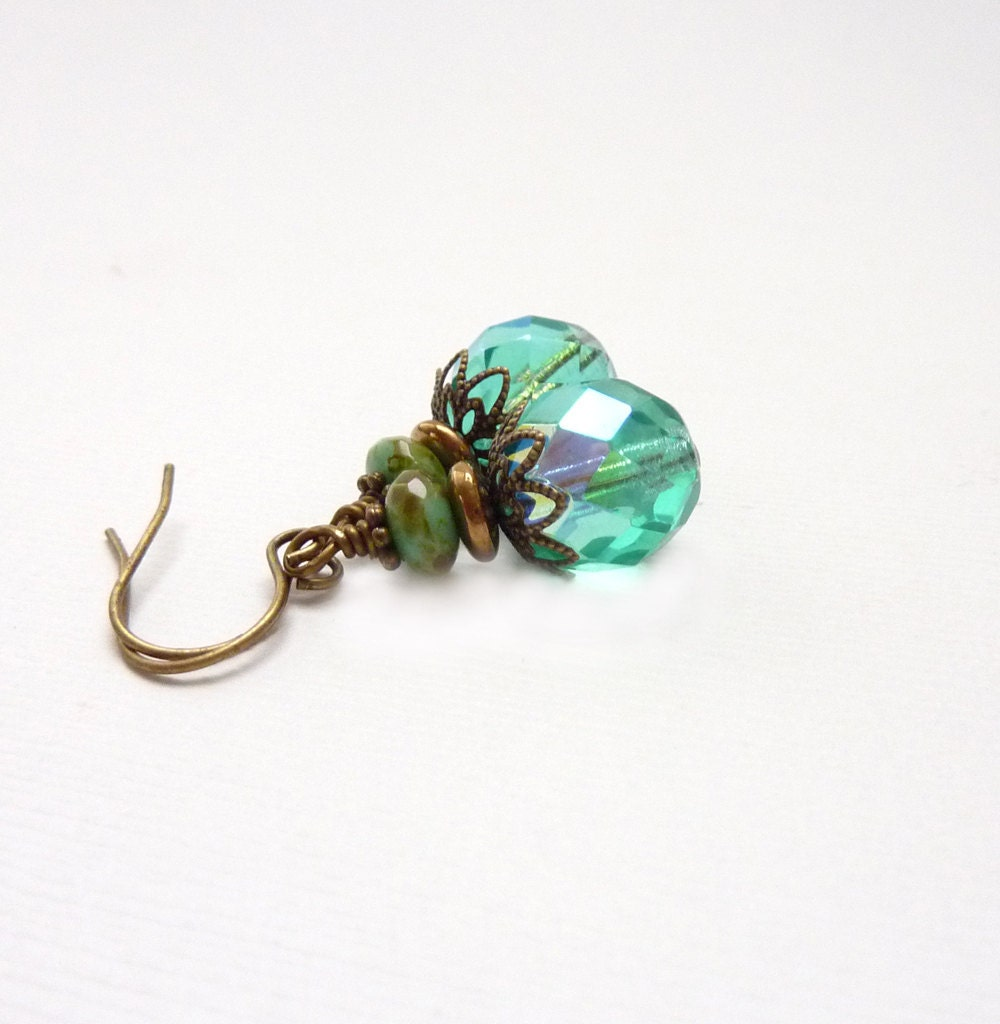Aquamarine Earrings on Aquamarine Beaded Earrings  Turquoise Fire Polished Glass  Wire