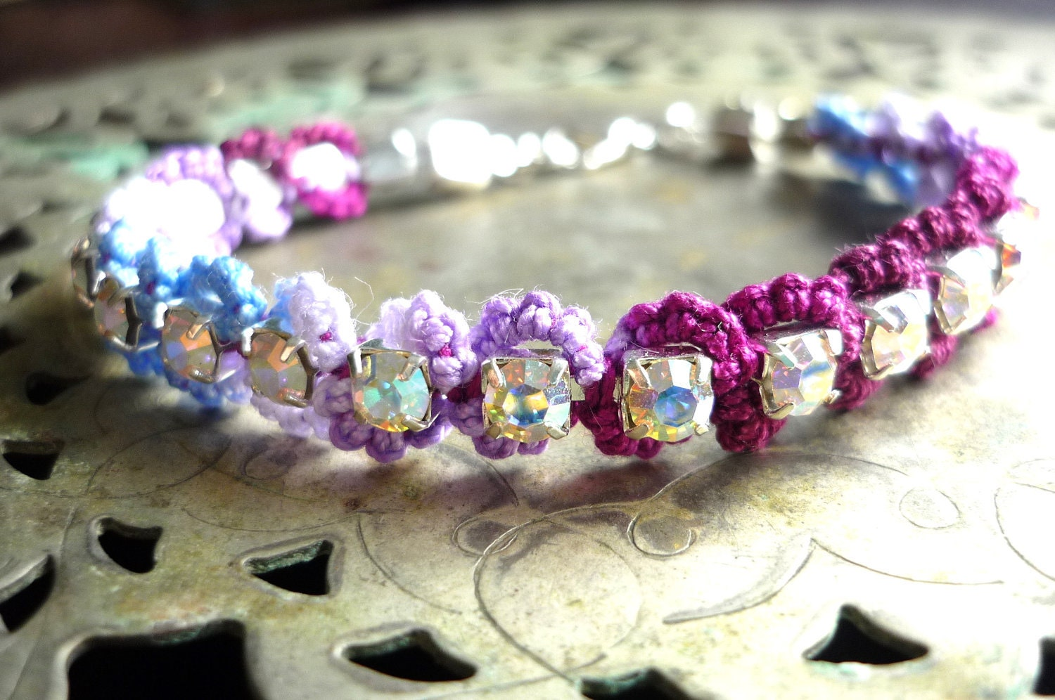 Swarovski crystal bracelet - berry purple and fresh blue - tatted lace