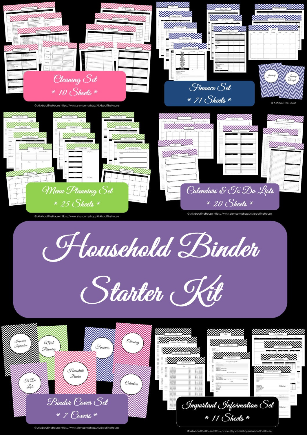 Household Binder Printables - Home Binder - HomeOrganisation- Starter Planner -PDF Printable-Chevron Printable-Perpetual Planner-BinderCover