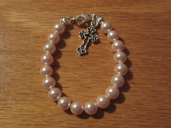 Girls Baptism Bracelet/Girls Christening Bracelet/Godmother Gift - roziespearls