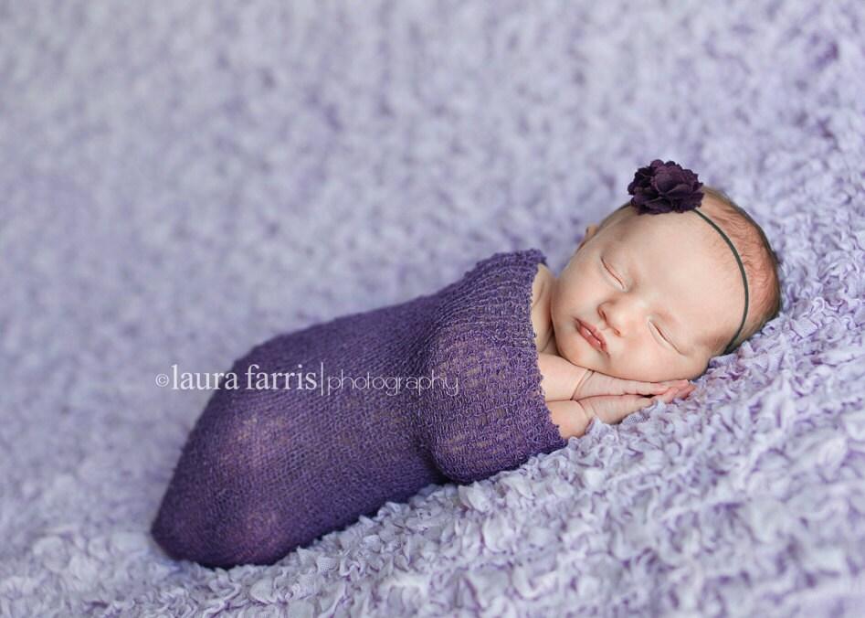 ELLE- MINI Plum. Purple. Fabric Flower Headband. Poof. Baby. Girl. Thin Elastic. Skinny. Photo Prop