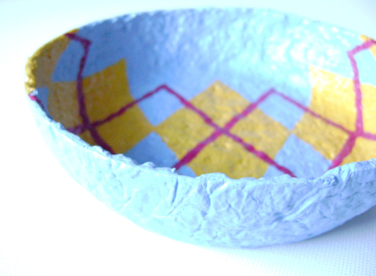 Decorative paper mache bowl recylced paper pulp in von for Making paper pulp sculpture