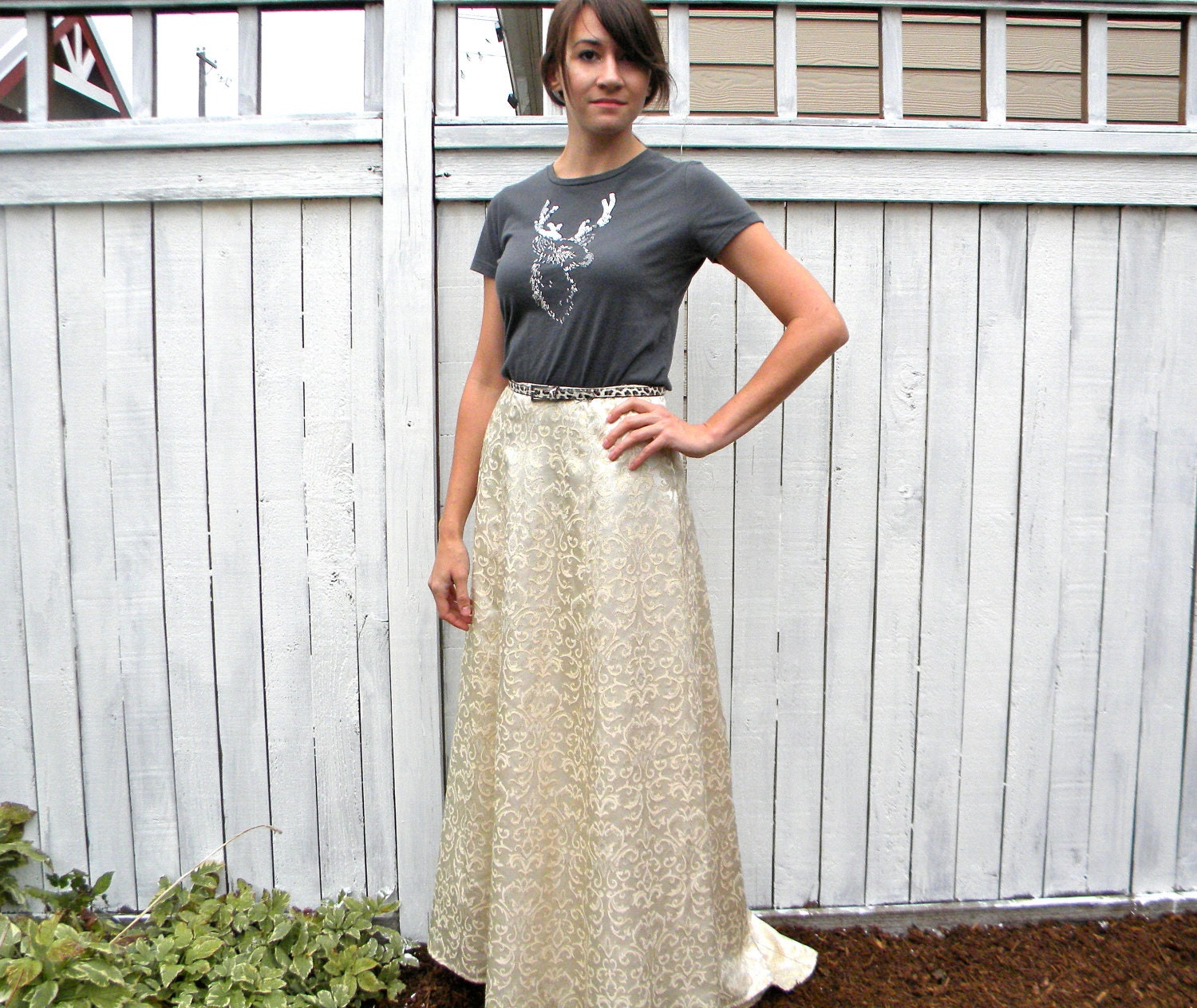 Shimmering Party 80s Gold & Ivory Brocade Floral Maxi Skirt with Train, Fishtail