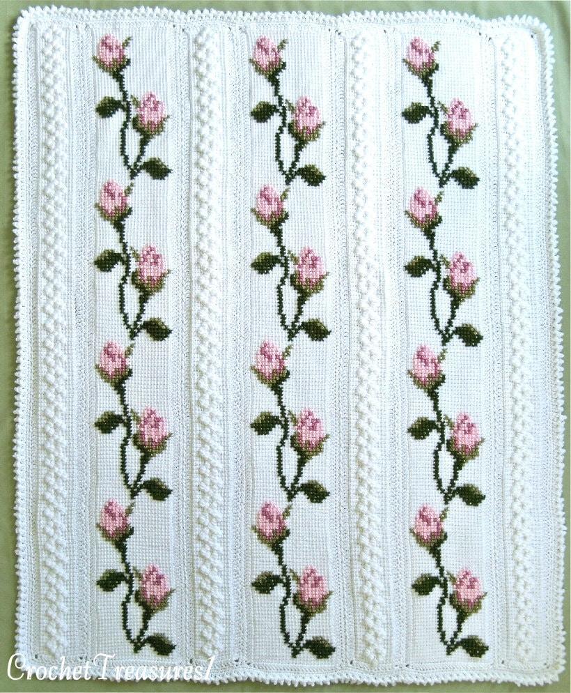 突尼斯钩针:时髦格子刺绣毯 - maomao - 我随心动