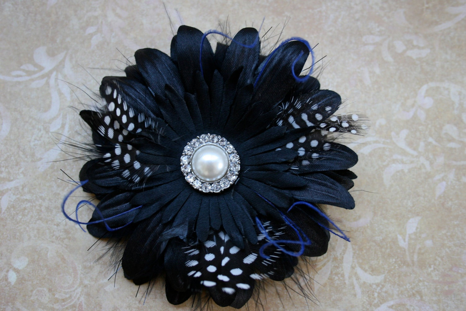 Womens Hair Flower, Hair clip & brooch- Elegance at Midnight