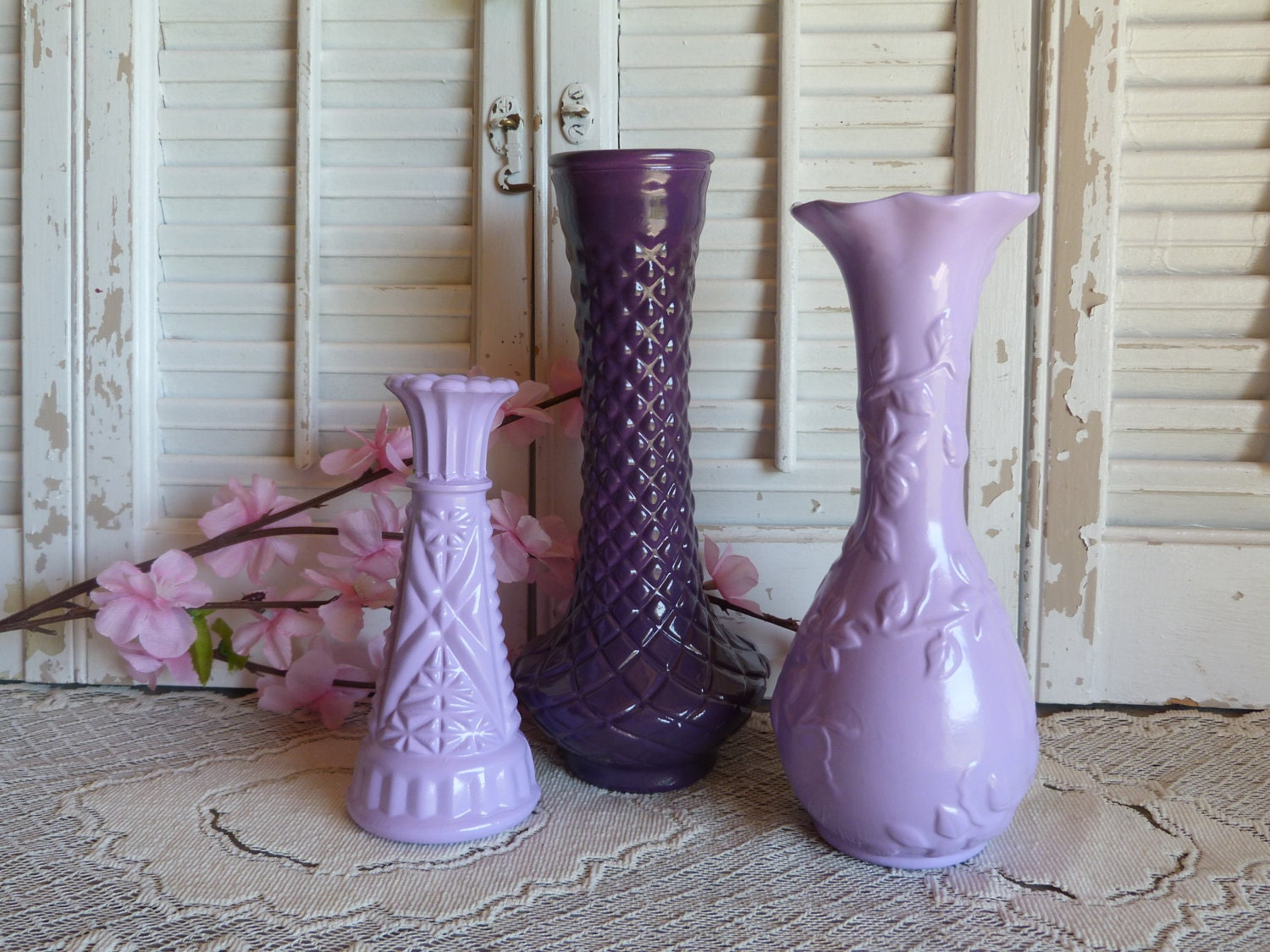 Upcycled Painted Purple Vases Set of 3 / Retro Decor / Lavendar Vases Table Top Decor