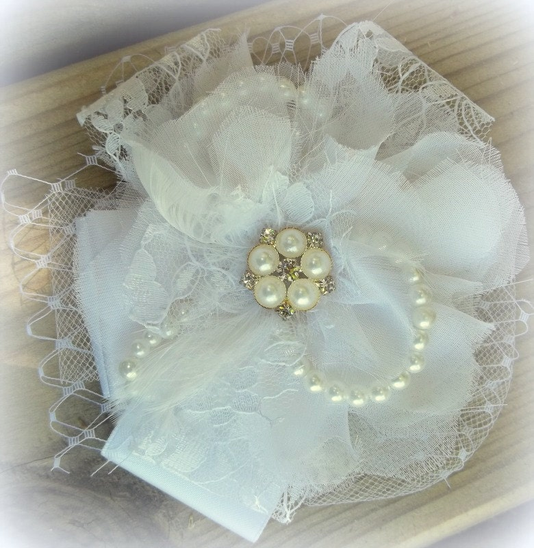 Bridal  fascinator with vintage style pearl rhinestone jewel, french netting, tulle, lace, honeycomb, pearls, White or Ivory