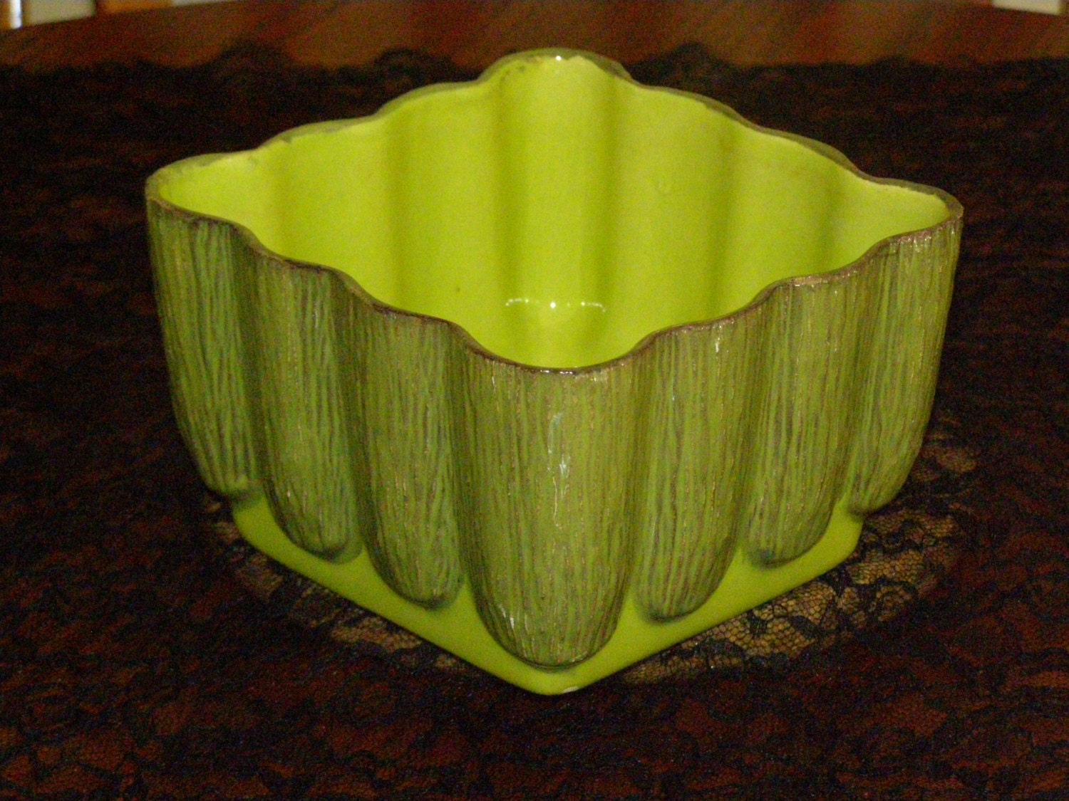 Vintage Retro Bamboo Ceramic Planter Hand Painted Greens Brown - parkie2