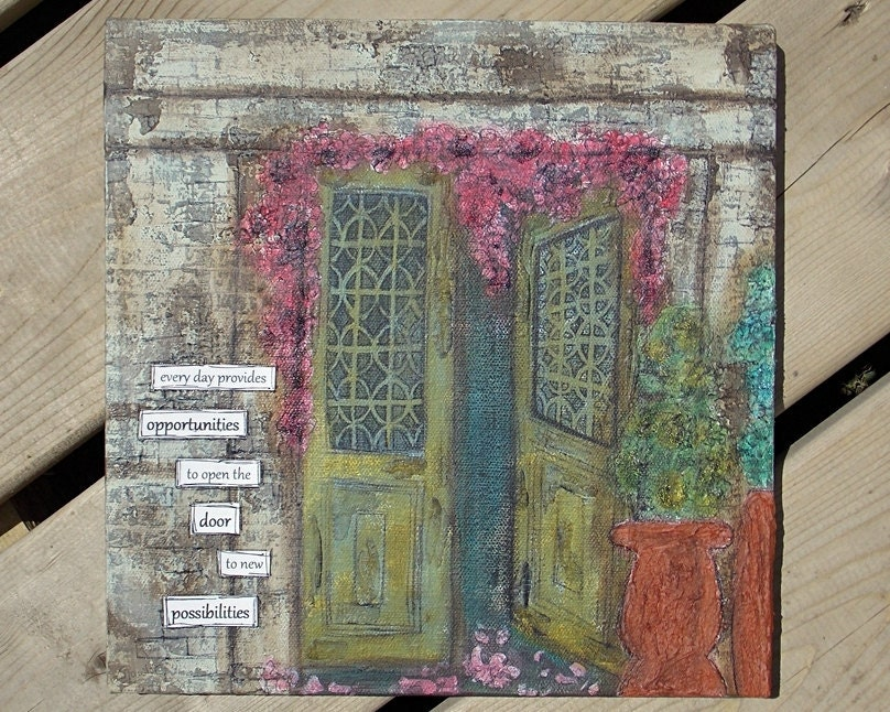 "Christmas in July - Original Mixed Media Painting - Old Door Art - Inspirational Art - 10"" x 10"" - open the door to new possibilities - saltonscovestudio"