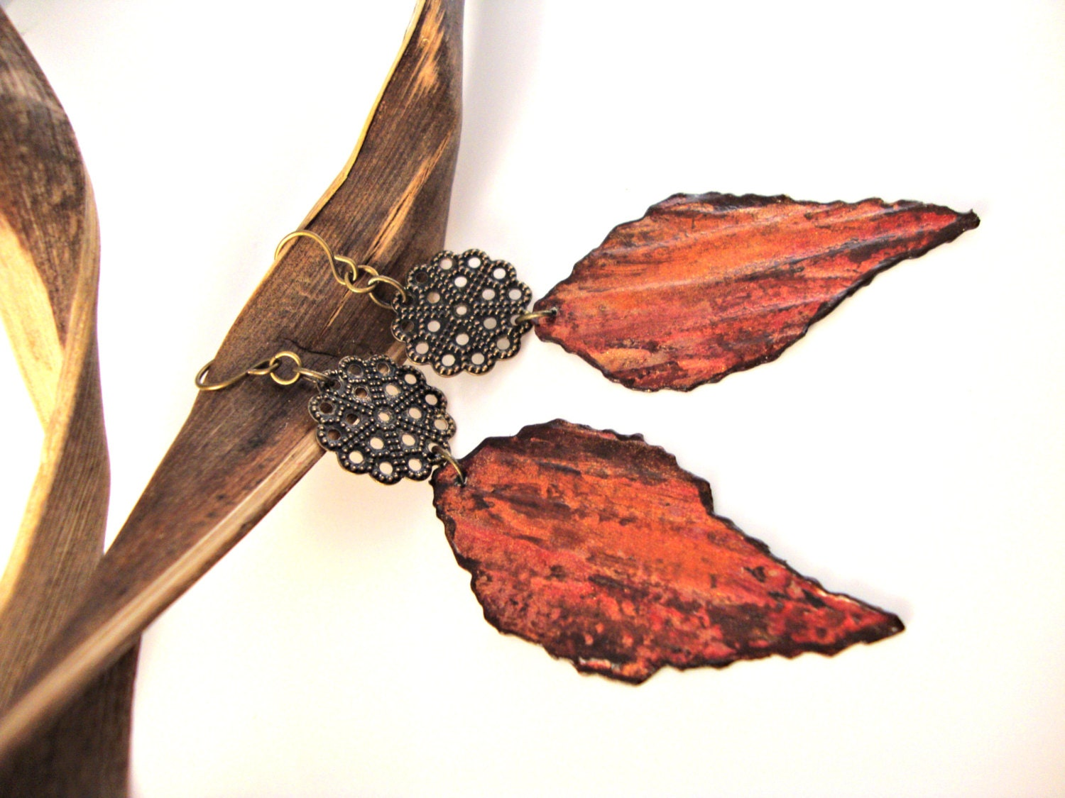 Rustic Autumn Leaf Earrings Fall Fashion Upcycled Jewelry - funkychicUPCYCLING