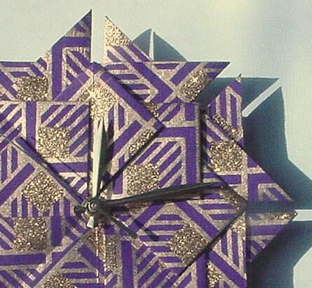 AnniversaryWedding50th Anniversary Gift ClockPurple Gold Origami