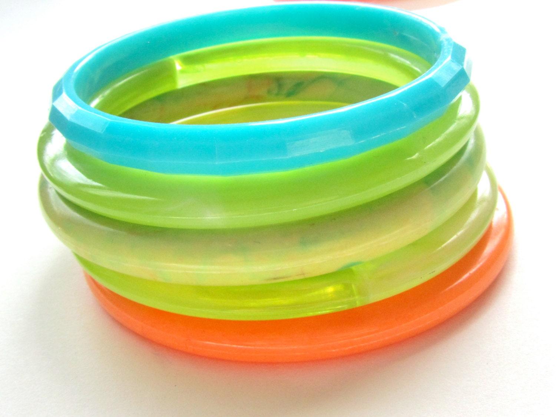 Vintage Beach Bangle Stack - plastic bracelets in summer colors - aqua, neon mint, marbled green, coral orange - stacking jewelry set - lindalinda