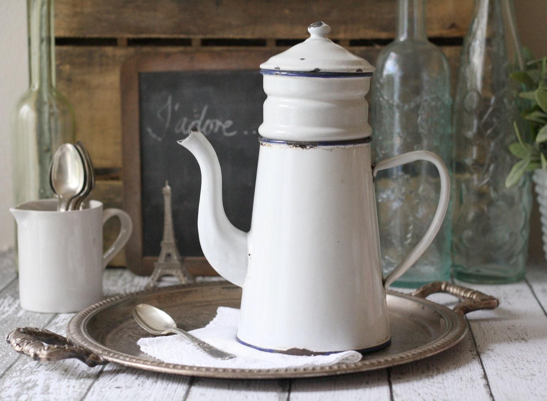 Vintage French Enamelware Coffeepot (Biggin) - circa 1930's - graceandivy