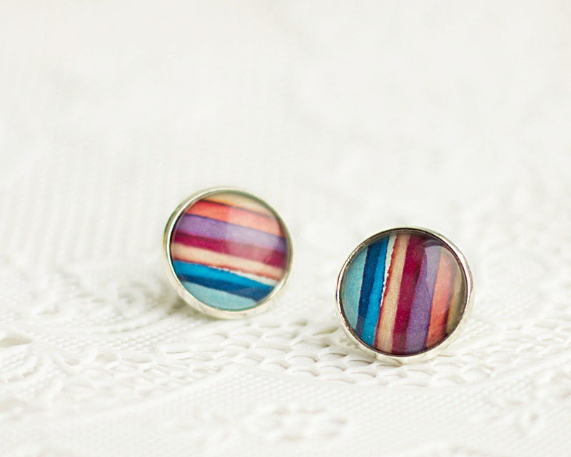Multicolor Stripes Earrings, Stud Earrings, Burgundy, Silver Brass, FREE shipping - HelgaYutt