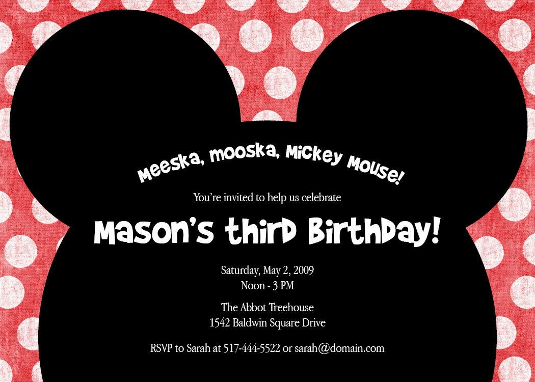 Invitation Wording For Mickey Mouse Party. Mickey Mouse invites I am going to try and make these very cute  Jude s 1st Birthday Pinterest mouse Mice Birthdays