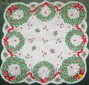 Vintage Christmas Hanky - UsedToBeYours