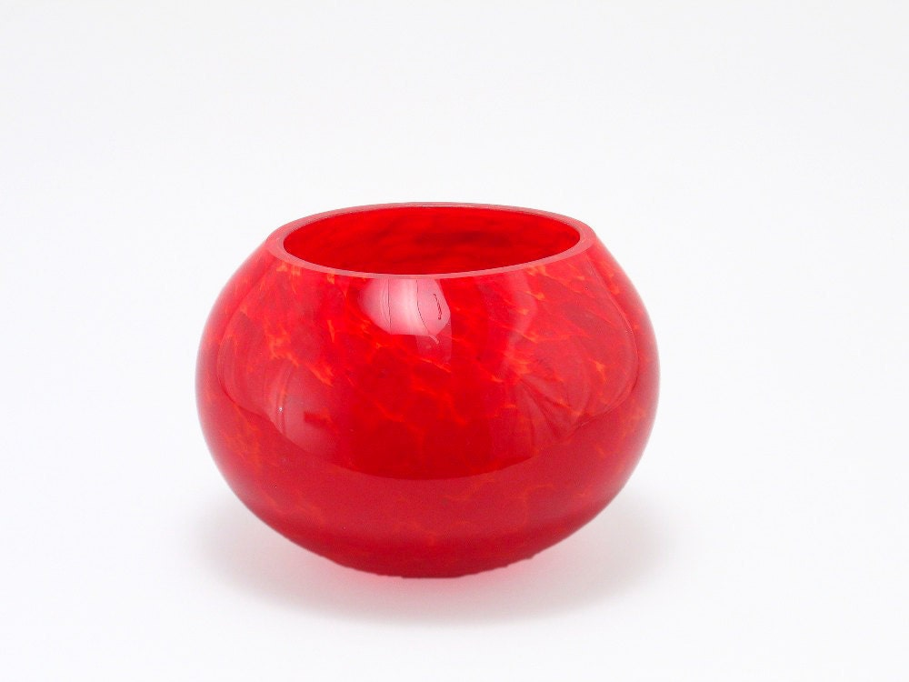 Blown Glass Vase Bold Red Centerpiece Mothers Day Gifts for Mom Glass Sphere Flower Vase dtteam teamcamelot tagt