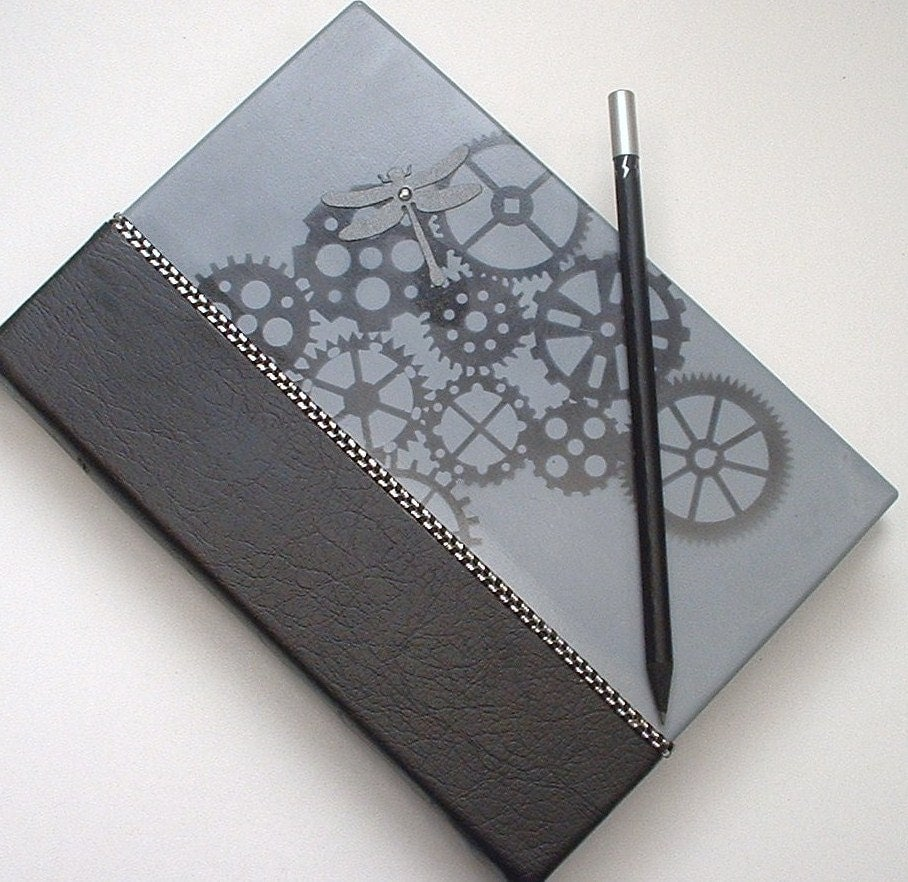 "Steampunk Quarter Bound Journal. ""Dragonfly Gears"". Faux Black Diamond Embellishment. Handpainted Limited Edition. FREE POSTAGE. - ShoestringCottage"