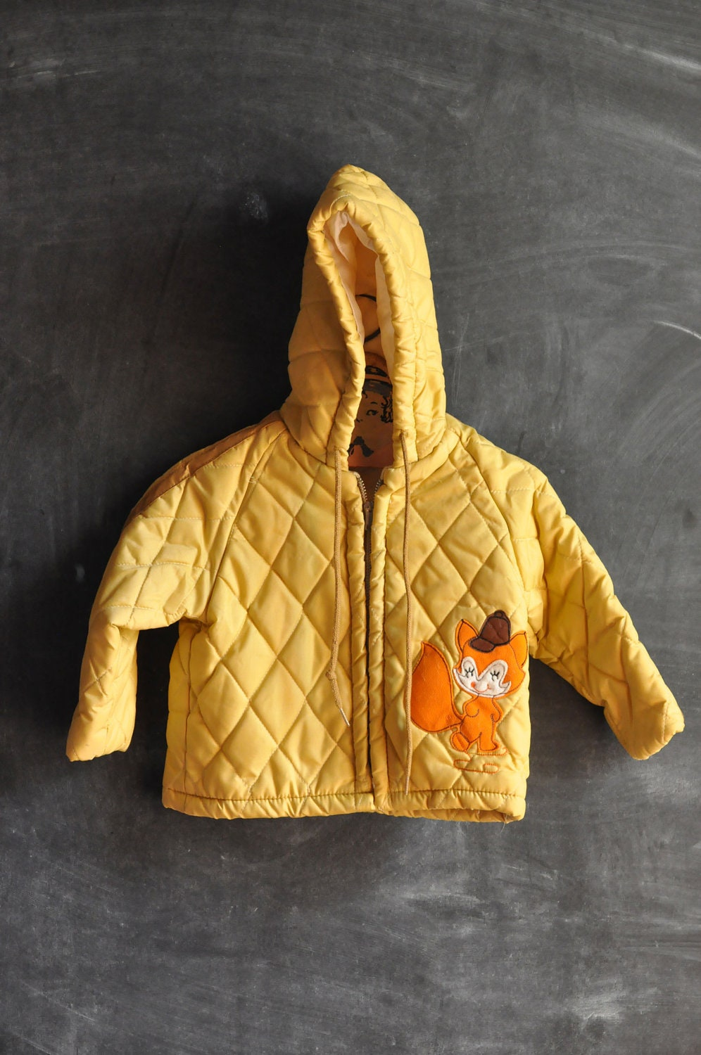 Vintage 1970s Quilted Yellow Fox Winter Coat size 2 Toddler - drowsySwords