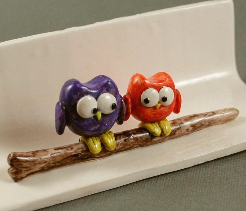 Hand Sculpted Business Card Holder - Little Owls In Purple And Orange