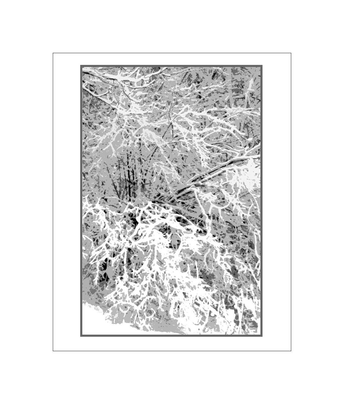 Snow Laden Branches,  Black And White Abstract Fine Art Photo, 16 x 20,  Winter's Lace, Maine Snowstorm,  Snow White Fantasy Photograph