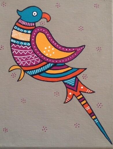 """Original Acrylic 8"""" X 10"""" Parrot painting"""
