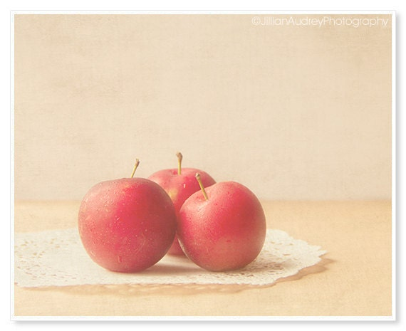 Plums Photograph - food photography - 8x10 - farm market finds - soft romantic pastel - kitchen art - rustic soft red - JillianAudreyDesigns
