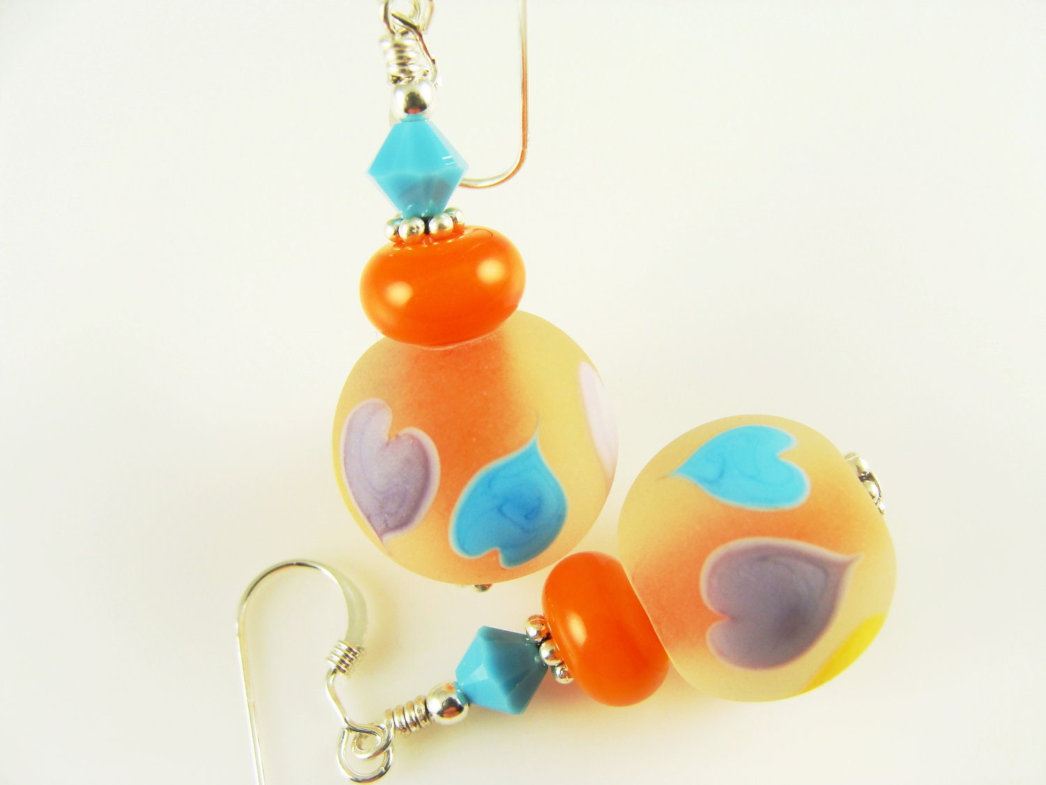 Heart Lampwork Earrings, Glass Bead Earrings, Orange Dangle Earrings, Colorful Lampwork Jewelry, Beaded Earrings